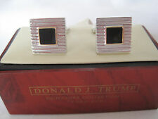 New Donald Trump Grooved Silver-Tone Cufflinks w/ Onyx Centers