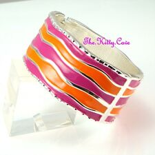 Bright Pink & Orange Enamel Wavy Silver Rhodium Punk Rock Bracelet Cuff Bangle