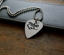Hand Made Etched Guitar Pick Necklace ZOSO Jimmy Page