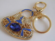 HANDBAG BUCKLE CHARMS BLUE CRYSTAL & BLUE ENAMEL PURSE POUCH KEYRINGS KEY CHAIN