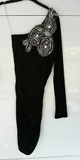 BNWT YOUNG BLOOD Black One Sleeve White Flower Detail Party Wiggle Dress