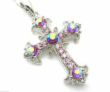 Cross Pendant Women's W Austrian Pale AB Pink Crystal Necklace Silver Plated New