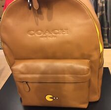 Coach Mens Saddle Leather Backpack Bag  Beige PAC-man