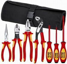 Knipex 7 Piece Electricians Insulated Tool Kit w/Nylon Tool Roll Tool Kit 21706