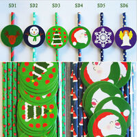 25 pcs Paper Drinking Straws with Tags For Christmas New Year Party Decoration