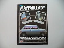 advertising Pubblicità 1984 AUSTIN MINI MAYFAIR