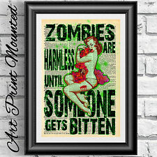 Mounted art print dictionary book page ZOMBIE girl the walking dead artwork gift
