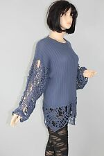 80er 80s Vintage Strick PULLI Pullover Knit Jumper Sweater CUT OUT Ärmel BLAU