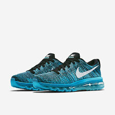 NIKE WOMENS FLYKNIT MAX SHOES SIZE 10 black white blue lagoon 620659 003