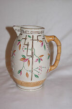 "Antique Brownhills Pottery Hand Painted Pottery 7.5"" Jug Bamboo Handle Trellis"