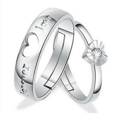 1 pair Lovers Heart Crystal Couple Rings Her and His Promise Ring Band