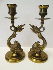 """Pair Of Brass Dolphin Fish Sea Monster Candle Holders 8"""" Tall Vintage Vintage!"""