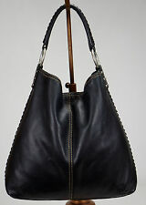 LUCKY BRAND Black Leather Whipstitch Slouchy Hobo Shoulder Bag