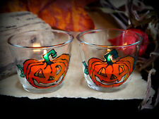 Halloween Pumpkin Glass Candle Holders  Altar Wicca Pagan Witch Samhain Autumn