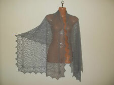 Stunning 100% pure cashmere lace shawl/scarf.  col.STEEL grey