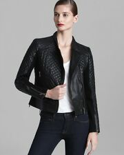 Michael Kors Motorcycle Jacket Leather Black XS Quilted Moto Asymetrical Coat