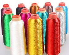 WHITE Metallic Sewing Machine Embroidery Threads,5000 yard tangle free, usa sale