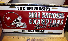 University of Alabama NCAA Football Champions 2011 metal License Plate, USA made