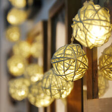 "20-LED 83"" Rattan Ball String Lamp Lights Christmas Wedding Decor Warm White"