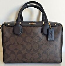 NWT Coach 58312 mini Bennett Satchel Handbag Signature Brown / Black