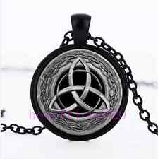 Metal Celtic Trinity Knot Cabochon Glass Black Chain Pendant Necklace