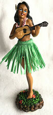 Dashboard Hula Girl Doll Playing Ukulele Green Skirt Hawaiian Hawaii Island NIB