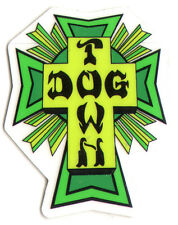 Dogtown Skates Cross Logo Green Skateboard Sticker - old school skateboarding