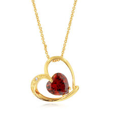 """Simulated Red Cubic Zirconia Gold-Plated Fashion Heart Pendant -18"""" Chain"""