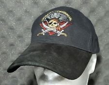 Disney Pirates of the Caribbean Hat Baseball Cap Black Suede Adjustable