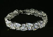 14k White Gold GF Bracelet made w/ Auth Swarovski Crystal Clear Stone Bridal