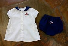 EUC Bebe Bonheur Sailor Dress 18 mths Girls Boutique Bloomers Linen