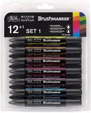 SET 12 FEUTRES BRUSHMARKER WINSOR NEWTON N°1 DOUBLE POINTE BASE ALCOOL+ BLENDER