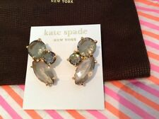 NEW KATE SPADE GOLD PLATE CHARCOAL CLUSTER FASHION GEM EARRINGS W/14K GOLD FILL