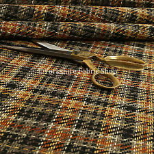 Designer Geometric Tartan Checked Pattern Woven Texture Orange Upholstery Fabric