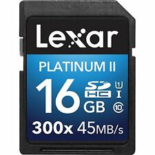 LEXAR PLATINUM II SDHC 300X 45MB/s 16GB CLASS 10 FLASH MEMORY CARD NEW st