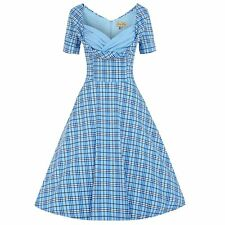 Lindy Bop 50s Retro Vintage Sloane Blue Check Pocketed day Swing Dress 22
