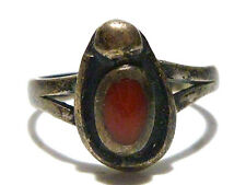 SOUTHWESTERN NAVAJO OLD CORAL STERLING SILVER WOMENS RING BAND SIZE 4.75