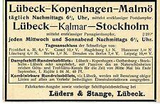 Lüders & Stange Lübeck Dampfschiff Rundreisebillets Historische Reklame von 1900