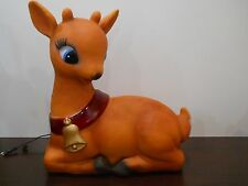 Christmas blow mold lighted plastic yard decor Doe Reindeer Bambi Female Laying