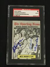 1970 TOPPS WS CELEBRATION METS WHOOP IT UP SIGNED AUTOGRAPHED CARD W/4 AUTOS SGC