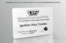 LDV Ignition Keycodes Card - Maxus/Convoy/Pilot ignition keys cutting codes
