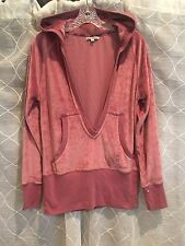 Solid Dusty Rose Velour Hoodie Jacket by Max Sport-L large-Pink Sweatshirt -New