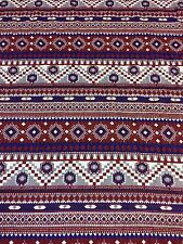 Polyester Burgundy Blue Aztec Tribal African Jersey Stretch Lycra Dress Fabric