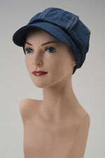 CHEMO CAP HAT Denim Blue NEWSBOY Alopecia Cancer Headcover Turban Scarf HAIRLOSS
