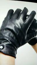 New Women Real Sheepskin Leather Gloves Winter Cape Gloves Black Wrist