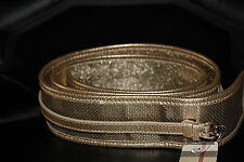 $550 Burberry London Signature Check Gold Plaids Leather Belt Large Italy New