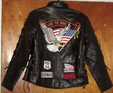 WOMEN'S Ladies Black Leather Motorcycle Biker Jacket SIZE X-LARGE