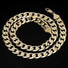Mens Man Jewellery Curb Chain Necklace Solid 9ct Gold Plated Heavy 24 Inches