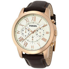 *NEW* MENS FOSSIL GRANT ROSE GOLD CHRONO BROWN LEATHER WATCH - FS4991 - RRP £129