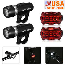 2X 5 LED Bike Bicycle Cycling Front Lamp Head Light + Rear Safety Flashlight